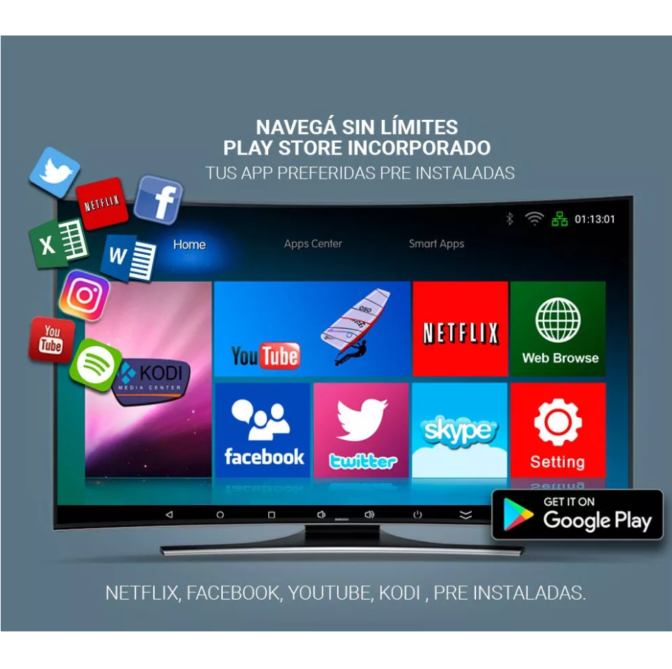 Convertidor Smart Tv Box con control remoto y teclado inalambrico retroiluminado 4K ultra HD